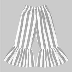 Girls Gray Stone & White Stripe Boho Ruffle Pants